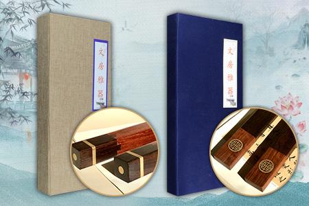 黑檀、刺猬紫檀镶嵌铜片,团寿镇纸