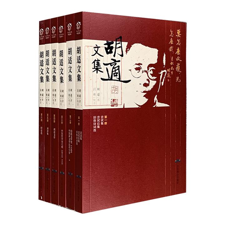 """《胡适文集》全6册,收入""""新文化运动领袖""""胡适的多部经典作品,涵盖诗歌、文史论著、哲学著作、演讲、时论等不同类型,原文+注释+疑难字注音。"""