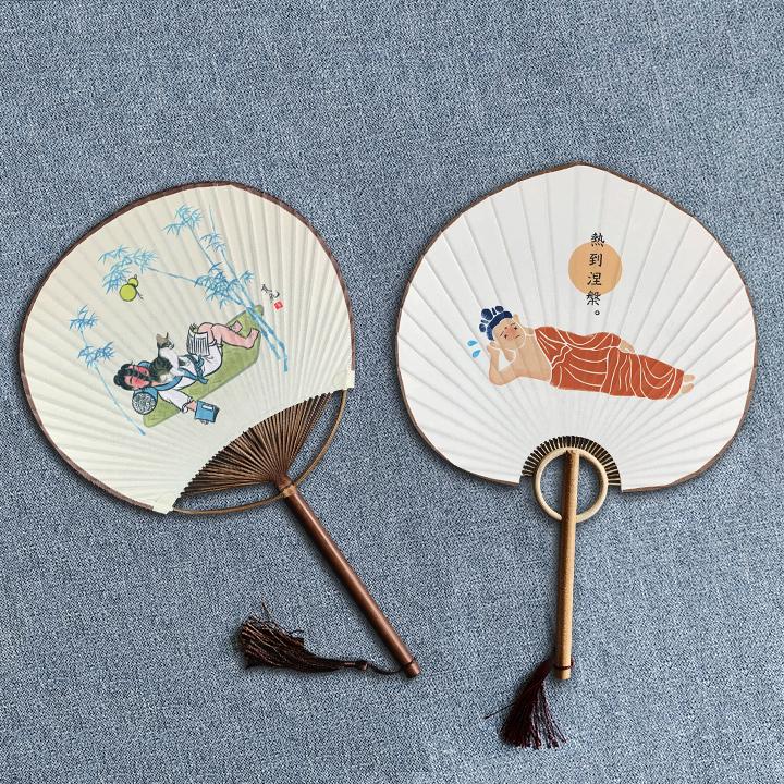热到涅磐--宣纸木柄团扇(36cmX24cm) (宣纸木柄)