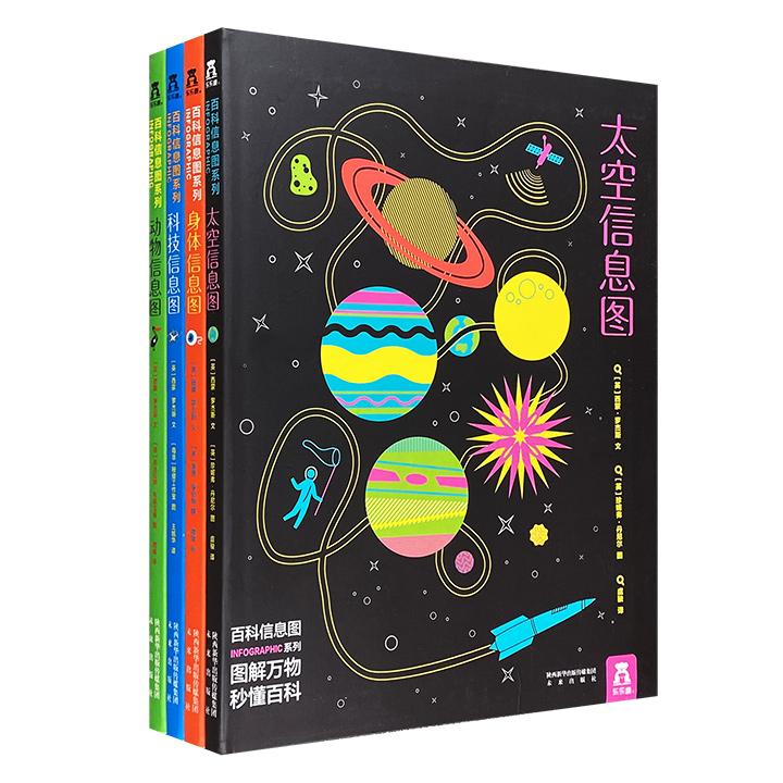 《百科信息图》全4册,科技界大咖西蒙·罗杰斯为6-12岁孩子编写。16开软精装,铜版纸全彩,将难懂的百科知识以别具一格的信息图表呈现,全新思维图解万物。