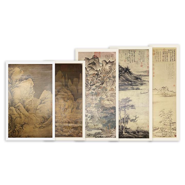 """""""中国历代绘画珍本""""5幅,汇集《九峰雪霁图》《葛稚川移居图》《洞庭渔隐图》《秋亭嘉树图》和《雪山图》,散页装帧,超大画幅,原大原色,独立卷筒装。"""